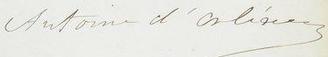Antoine, Duke of Montpensier - Image: Signature of Prince Antoine, Duke of Montpensier, Duke of Galliera, Infante of Spain