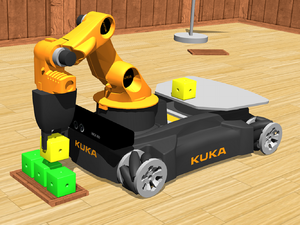 Webots - Simulation of a KUKA youBot mounted with a Microsoft Kinect device in Webots