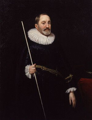Thomas Edmondes - Sir Thomas Edmondes, holding a white staff, symbol of certain senior officers of the Royal Household