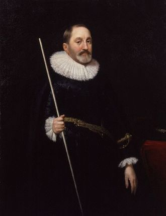 Thomas Edmondes - Sir Thomas Edmondes, holding a white staff, symbol of certain senior officers of the Royal Household
