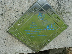 James Martin (engineer) - A plaque commemorating Sir James Martin in his home town of Crossgar