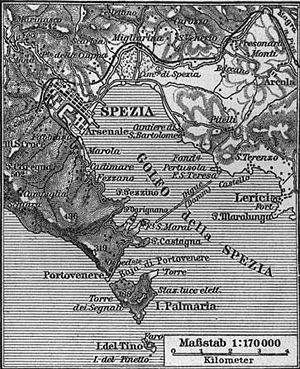 La Spezia - Map of La Spezia (German, late 19th-century).