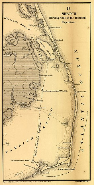 Battle of Roanoke Island - Sketch showing route of Burnside's forces to Hatteras Inlet. U.S. Government Printing Office, 1866