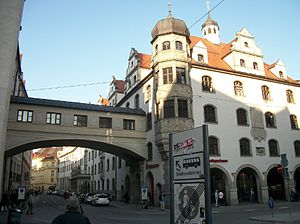 Building - A building and skybridge in Munich, Germany