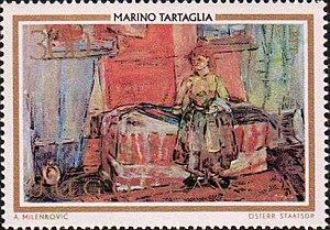 Marino Tartaglia - Slovenian girl by Tartaglia (on 1973 Yugoslav stamp).
