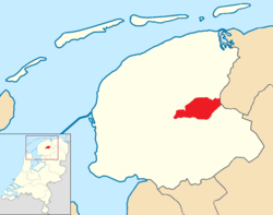 Position of Smallingerland in a map of Friesland