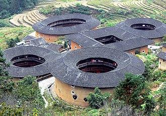 Hakka people - Tianluokeng Tulou cluster. Hukeng Town, Yongding County, Fujian.