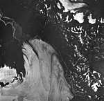 Snow River Glacier, terminus of valley glacier, and hanging glaciers on the surrounding mountains, August 27, 1963 (GLACIERS 6839).jpg