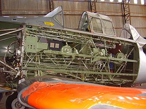 North American T-6 Texan - A South African Air Force Harvard under restoration exposing internal structure
