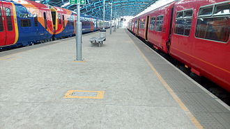 Waterloo International railway station - South West Trains units occupying platforms 21 and 22, Waterloo (ex-International Terminal) station at 15:30 on 23 July 2015.