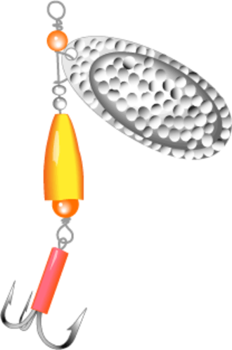 Fishing lure - In-line spinner lure with ring, dish, body/weight and hook