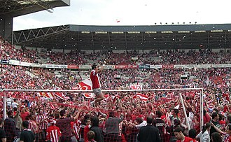 Sporting de Gijón - Football players celebrate with their fans the club's return to top-flight, 15 June 2008