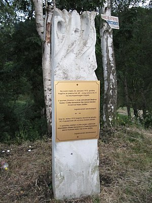 Vesna Vulović - Monument in Srbská Kamenice commemorating the crash of Flight 367