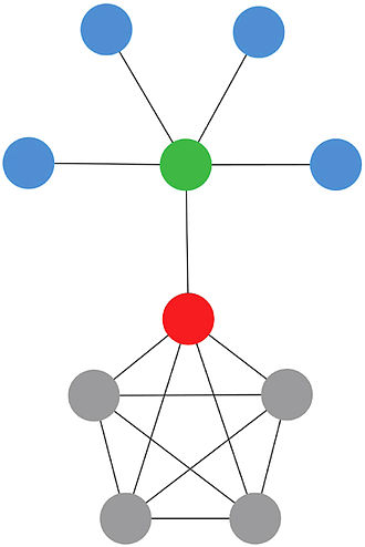Centrality - In the illustrated network, green and red nodes are the most dissimilar because they do not share neighbors between them. So, the green one contributes more to the centrality of the red one than the gray ones, because the red one can access to the blue ones only through the green, and the gray nodes are redundant for the red one, because it can access directly to each gray node without any intermediary.