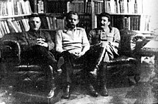 Voroshilov, Gorky, Stalin (left to right) 1931 photo