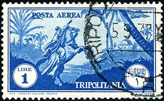 Italian Tripolitania - This 1-lire airmail stamp, depicting an Arab horseman pointing to an airplane passing overhead, was used in 1931.