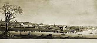 Brisbane (Moreton Bay Settlement), 1835; watercolor by H. Bowerman StateLibQld 2 305410 Image of a watercolour painting of Moreton Bay Settlement New South Wales in 1835.jpg