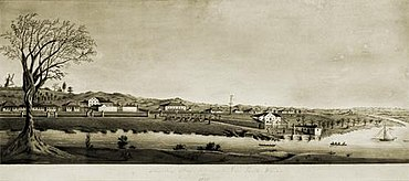 StateLibQld 2 305410 Image of a watercolour painting of Moreton Bay Settlement New South Wales in 1835.jpg