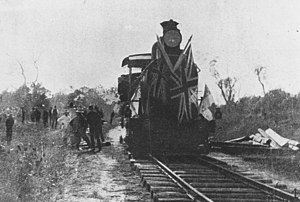 South Western railway line, Queensland - Regal visit to Goondiwindi including the first official train at Inglewood, 1907