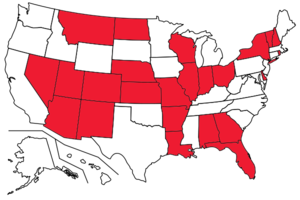 Stop and identify statutes - States (colored red) in which Stop and Identify statutes are in effect as of February 20th, 2013.