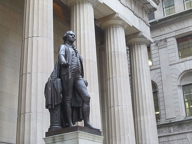 Statue of George Washington on Wall Street