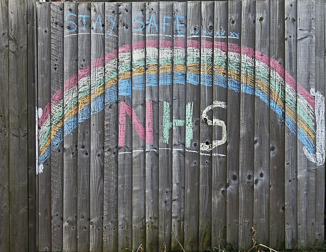 Rainbow for the NHS in the UK during the 2020 coronavirus pandemic by Amanda Slater CC BY-SA 2.0