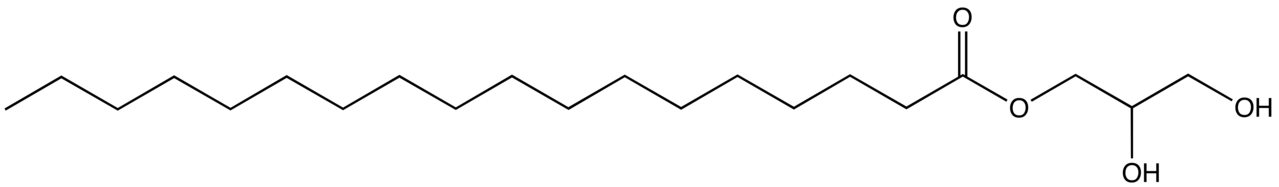Structural formula of 1-glycerol monostearate