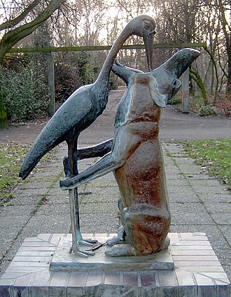 The Wolf and the Crane - Stephan Horota's sculpture of the fable in Berlin's Treptower Park, 1968