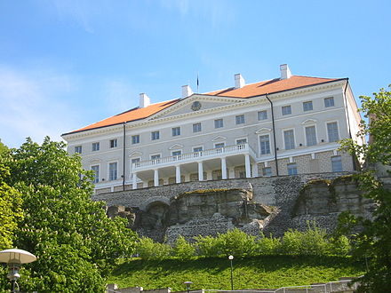 Stenbock House on Toompea hill is the official seat of the Government of Estonia Stenbock House.jpg