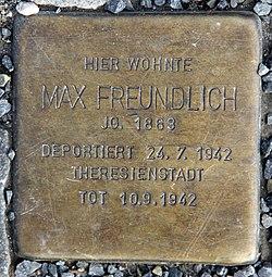 Photo of Max Freundlich brass plaque