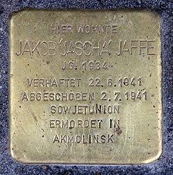 Photo of Jakob 'Jascha' Jaffe brass plaque