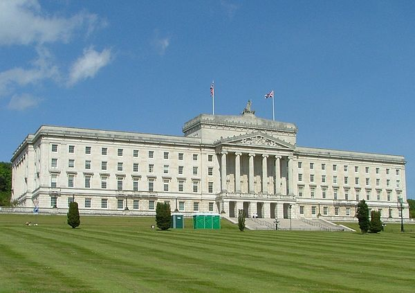 Parliament Buildings, Stormont, Northern Ireland is home to the Northern Ireland Assembly.