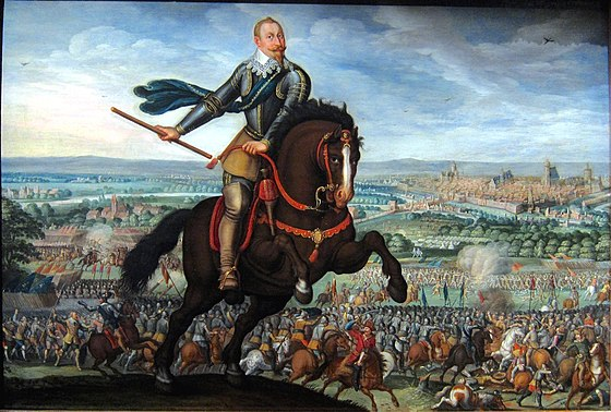 The victory of Gustavus Adolphus at the Battle of Breitenfeld (1631) Strasbourg walter gustave adolphe.JPG