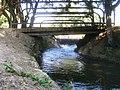 Stream, Bridge, and Cascade in Hurshat Tal National Park פלג, גשר ואשד בחורשת טל - panoramio.jpg