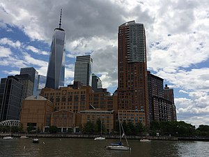 Stuyvesant High School - A southward view of Stuyvesant High School from Hudson River Park, with the new World Trade Center in the distance
