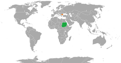 Map indicating locations of Sudan and Bulgaria