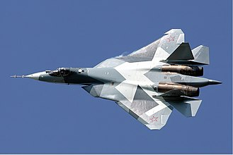 Sukhoi Su-57 - A prototype of the Su-57 in flight at the MAKS 2011 air show.