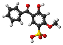 Ball-and-stick model of the sulisobenzone molecule