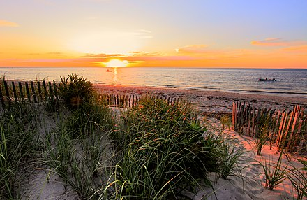 Cape Cod Bay, a leading tourist destination in Massachusetts. Tourism is important to the state's economy. Sunset on Cape Cod Bay.jpg