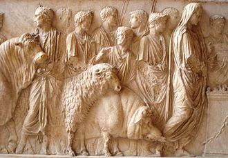 Suovetaurilia - The suovetaurilia was an ancient Roman sacrifice in which a pig, a sheep, and a bull were sacrificed.
