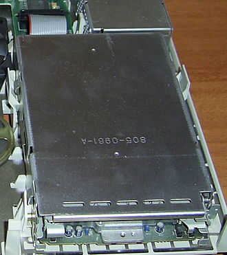 SuperDrive - Internal SuperDrive floppy drive on a Macintosh LC II