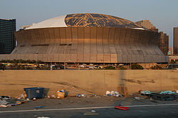 Damage to the Superdome as a result of Katrina.