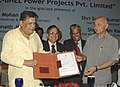 Sushil Kumar Shinde and the Minister for Heavy Industries and Public Enterprises, Shri Sontosh Mohan Dev are presenting Certificate of incorporation of NTPC-BHEL Power Projects Pvt. Ltd., in New Delhi on April 29, 2008.jpg