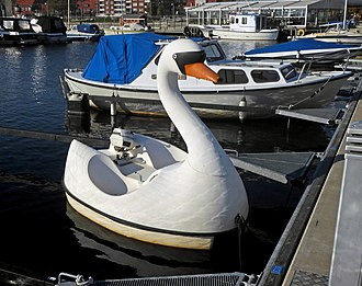 Plastic - A pleasure boat made of plastic in the form of a swan