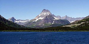 Many Glacier - Mount Wilbur rises to the west of Swiftcurrent Lake.