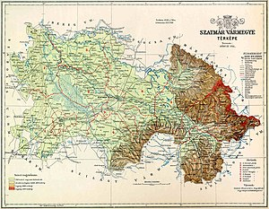 Map of Szatmár county in the Kingdom of Hungary (1891)