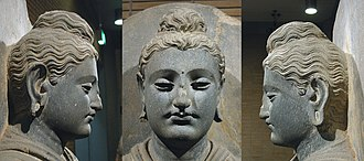 Standing Buddha - Face of the statue, from 3 angles.