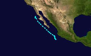 1949 Pacific hurricane season - Image: TS 3 E 1949 track