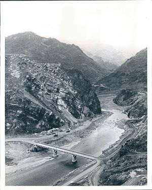 "Shihmen Dam - Shihmen Dam site before construction, looking upstream at the ""stone gates""."
