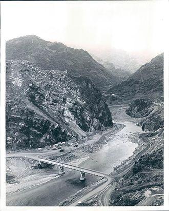 "Shihmen Dam - Shihmen Dam site before construction, looking upstream at the ""stone gates""."